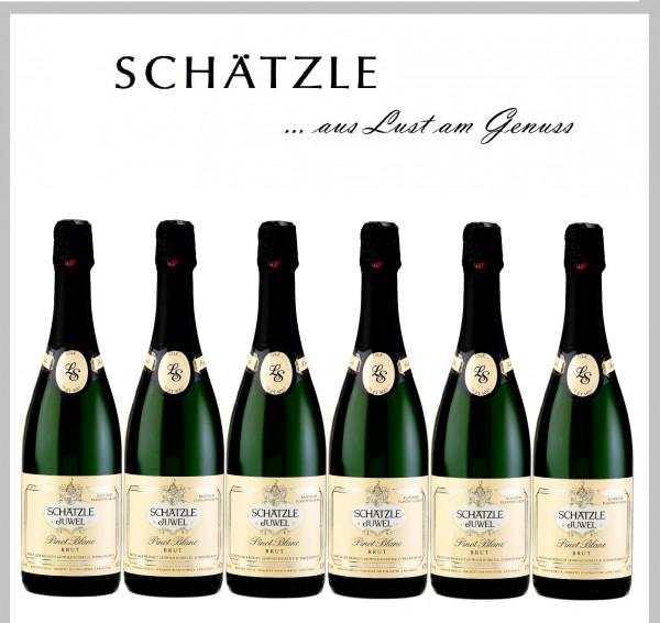 6 Flaschen Schätzle Juwel Pinot Blanc Brut Flaschengärsekt